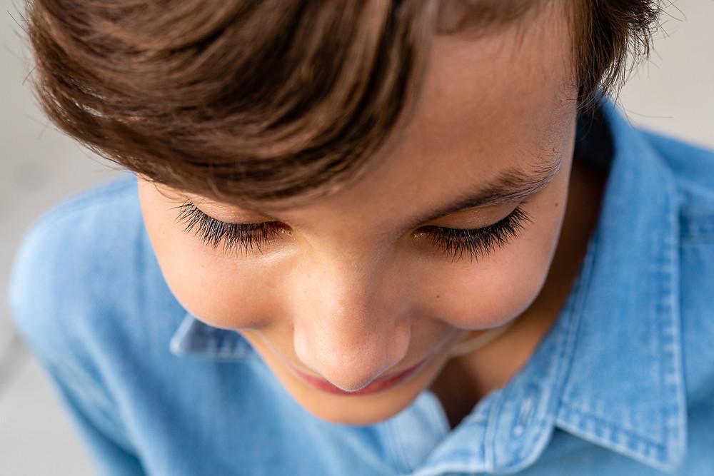 Closeup of young girls eyelashes