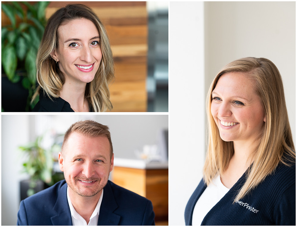 A group of professionals smiling for business headshots
