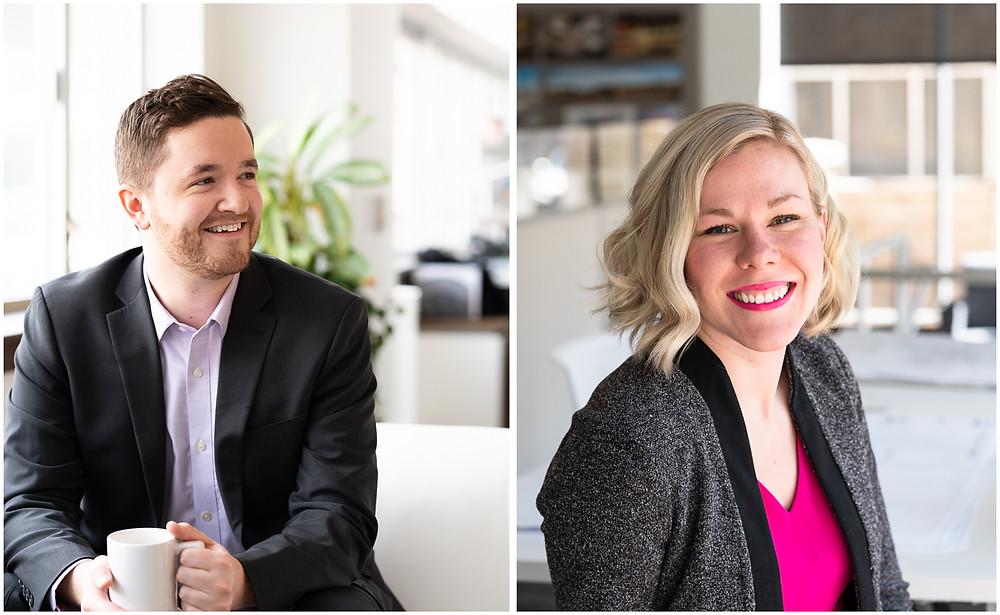 Two young professionals smiling for commercial portraits