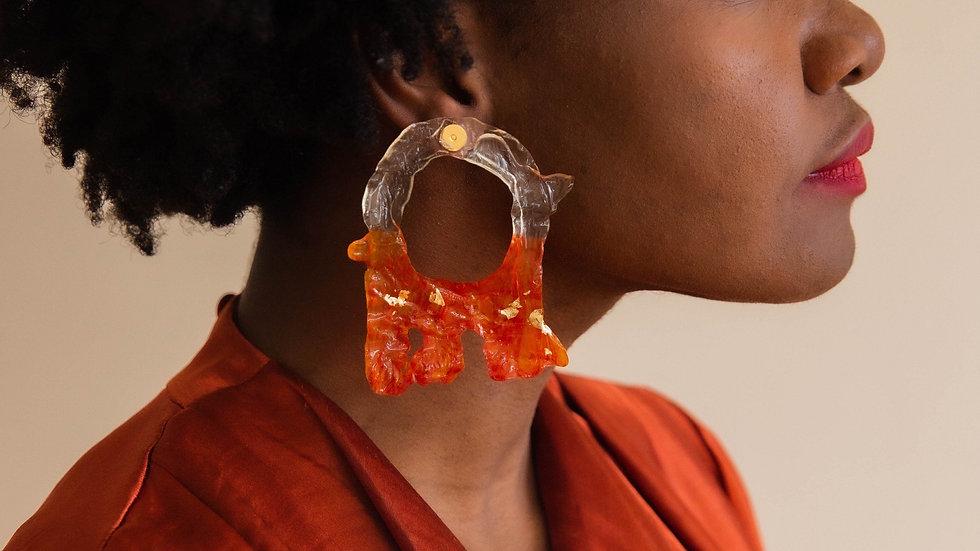 Lava Earrings Burnt Saffron (Made to Order)