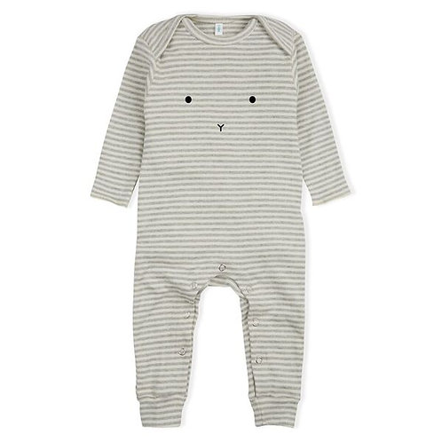 Organic Zoo   Grey Stripe Playsuit Bunny