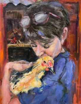 A woman and her chicken