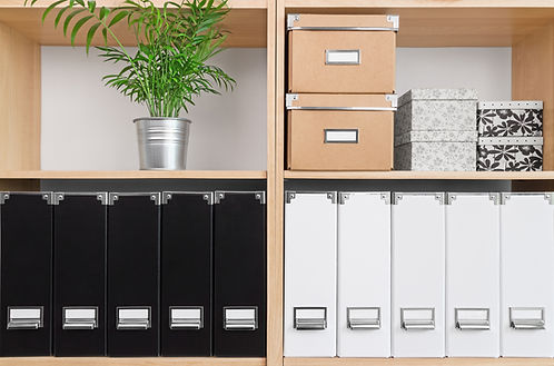 Shelves with storage boxes, black and wh