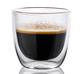 Hot coffee in a glass with double walls