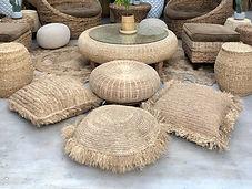 Large rattan floor cushion