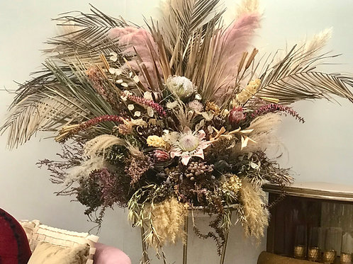 Dried Florals on Gold Stand