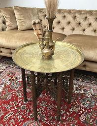 Round Brass Folding Table