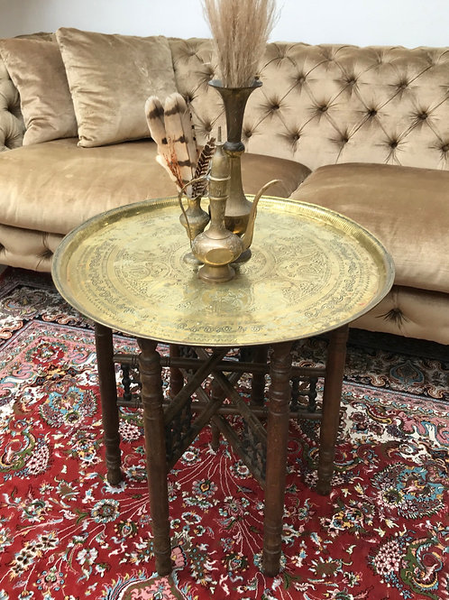 Round Brass Folding Table