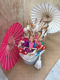 Basket of Colourful Parasols (25)