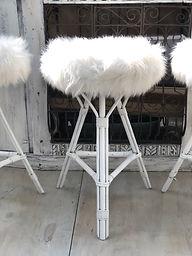 White Fluffy Barstool