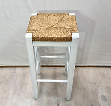 White and Rattan Barstool