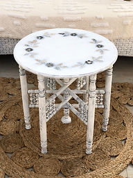 White Shell Inlay Side Table