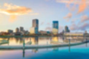 Milwaukee skyline at twilight with city