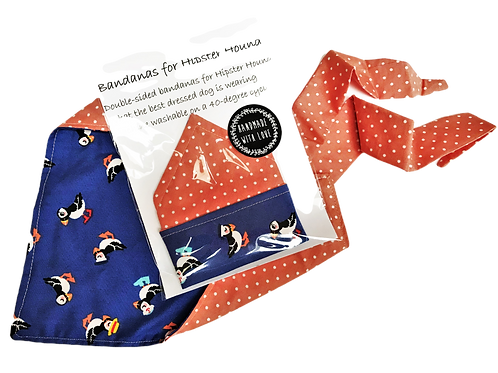 Dog Bandana - Peach with White Spot / Puffins