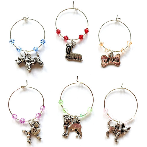 Wine Glass Charms - Dogs