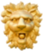 statue of golden lion head isolated on w