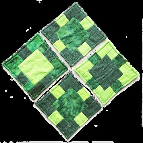 Padded Coaster Set - Green