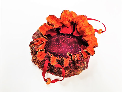 Drawstring Jewellery Pouch - Multi Red Spot with Orange