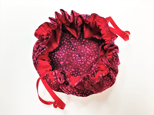 Drawstring Jewellery Pouch - Claret Spot & Red