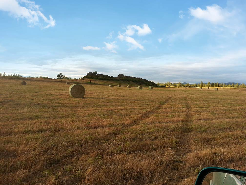 Hay bales in front of the Rocky Ridge