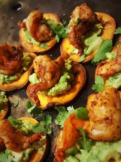 sweet potato and shrimp curl bites