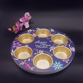 Welpen Rondell, lila mit goldenen Näpfen
