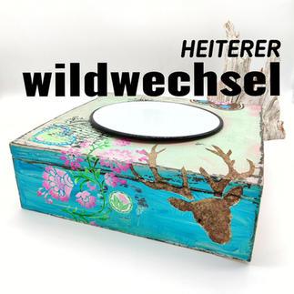 Wassernapf bunt mit Hirsch und Emaillenapf