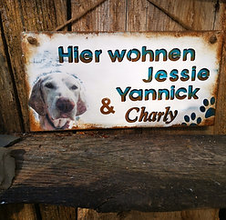 Türschild mit Hundefoto