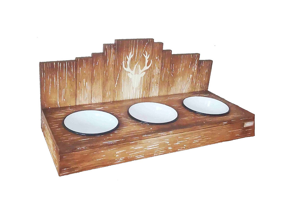 futternapf mit 3 näpfen, Holz mit emaill