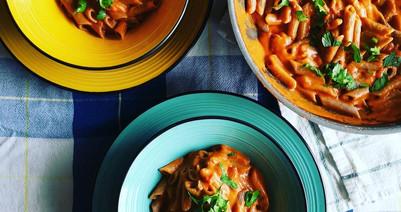 "Buckwheat pasta ""Boscaiola"" with porcini mushrooms and cashews cream   Vegan   Gluten Free."