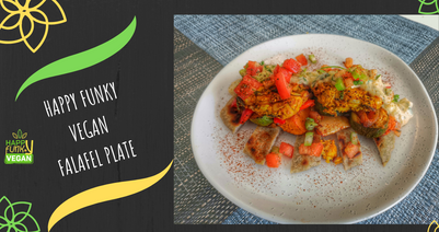 Vegan falafel plate with coconut tzatziki & roasted veggies.