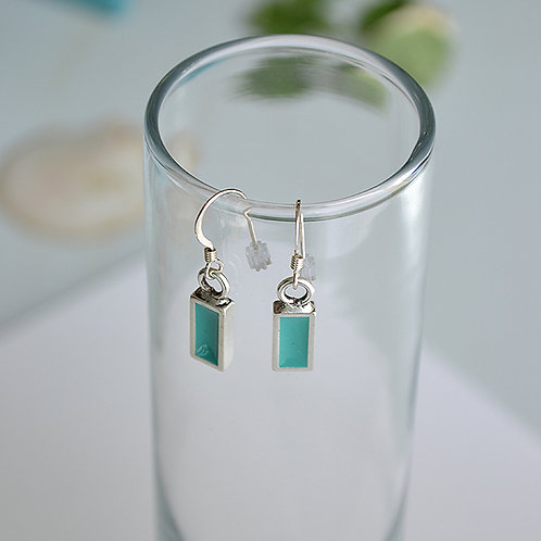 Teal Rectangle Earrings