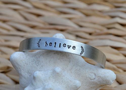 Believe Pewter Bracelet