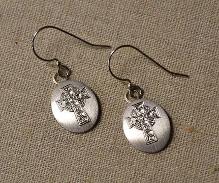 Celtic Cross Pewter Oval Earrings