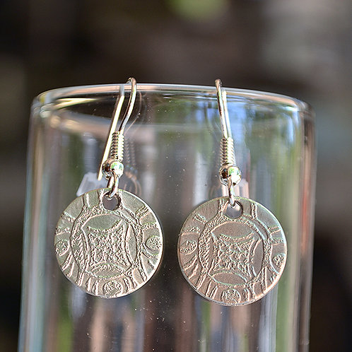 Round Etched Pewter Earrings