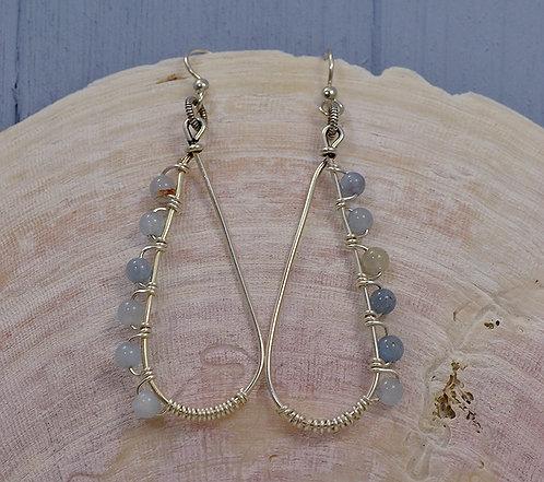 Aquamarine Wire Drop Earrings