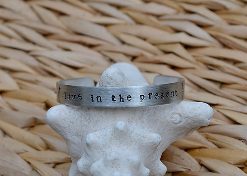 Live in the Present Pewter Bracelet