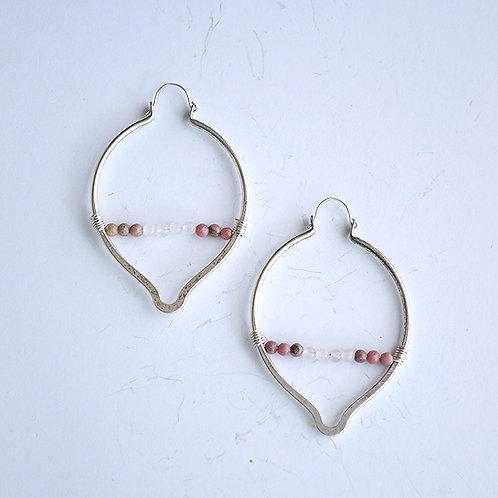 Oval Point Earrings - Rhodonite & Rose Quartz