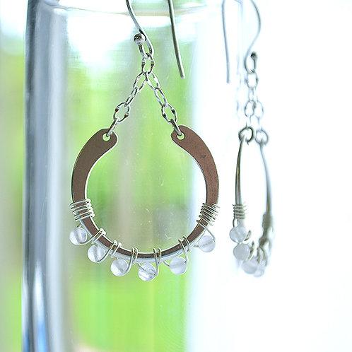 Open Circle Earrings - Aquamarine