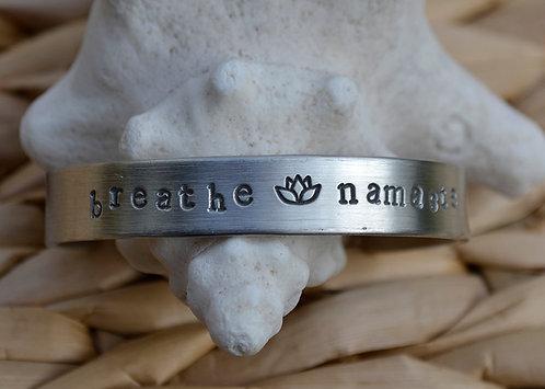 Breathe Namaste Childs Pewter Bracelet