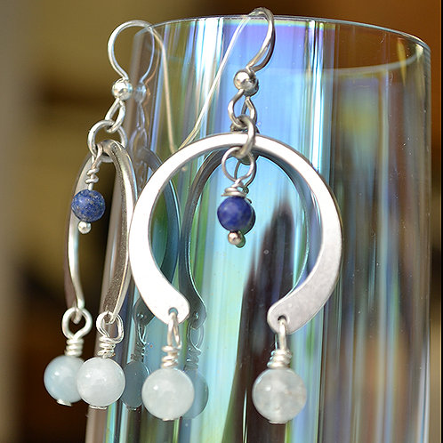 Open Circle Earrings - Aquamarine and Lace Agate