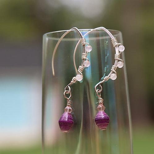 Gemstone and Paper Bead Earrings