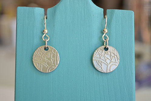 Round Etched Pewter Earrings - Henna
