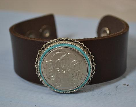 Leather Cuff Bracelet with Monogram