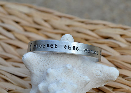 Protect this Woman Pewter Bracelet
