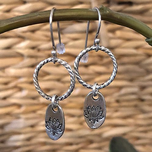 Lotus Dangle Pewter Earrings