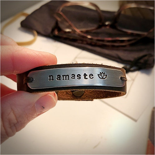 Stamped Pewter and Leather Bracelet-Namaste