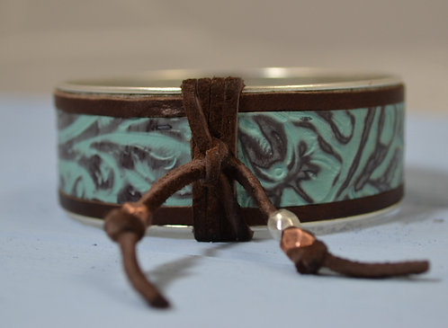 Pewter Bangle with Leather