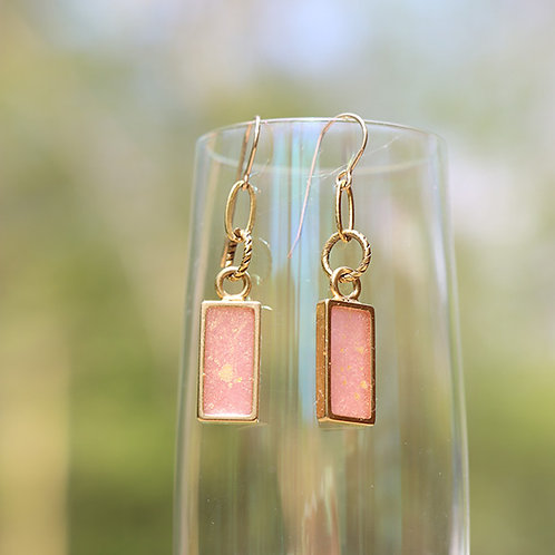 Large Rectangle Earrings Gold & Pink