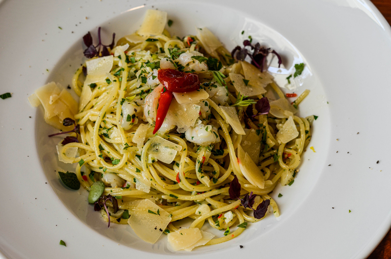 Špagety Algio olio pepperoncino